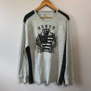 3/$20 Express Long Sleeve Gray Graphic Tee Large